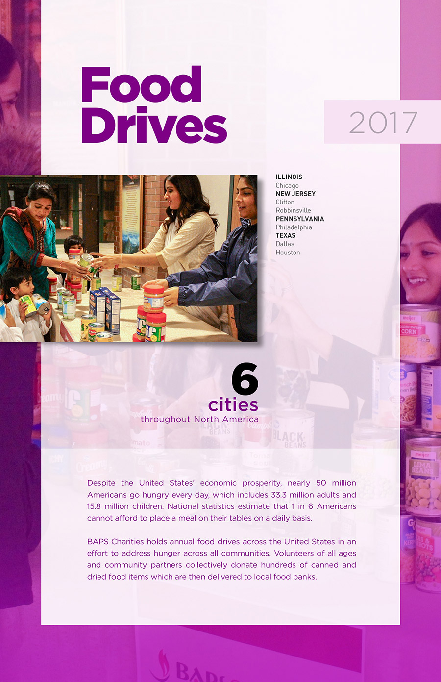 Food Drives - BAPSCharities - North American Activities Annual Report 2017